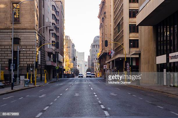 Early morning street scene in downtown Joburg, Johannesburg, Gauteng, South Africa.