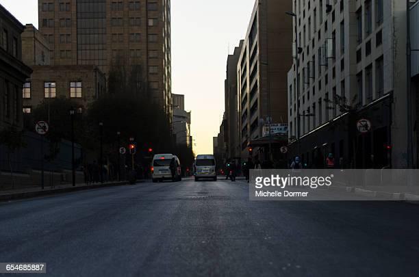 Early morning street scene in downtown Joburg, Johannesburg, Gauteng, South Africa.