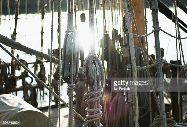 Early morning sunlight shines through rigging during the North Sea Tall Ships Regatta on August 27 2016 in Blyth England The bustling port town in...