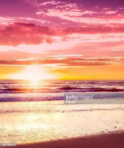 早朝日の出や波