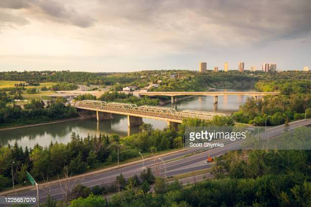 early morning sunrise in edmonton river valley - edmonton stock pictures, royalty-free photos & images