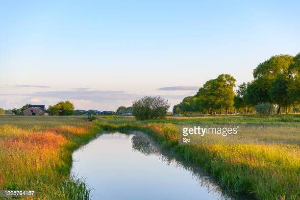 "early morning sunrise over a creek during a beautiful springtime day over the zwartendijk near kampen - ""sjoerd van der wal"" or ""sjo"" stock pictures, royalty-free photos & images"