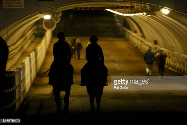Early morning trackwork at Caulfield Racecourse on July 18 2017 in Melbourne Australia