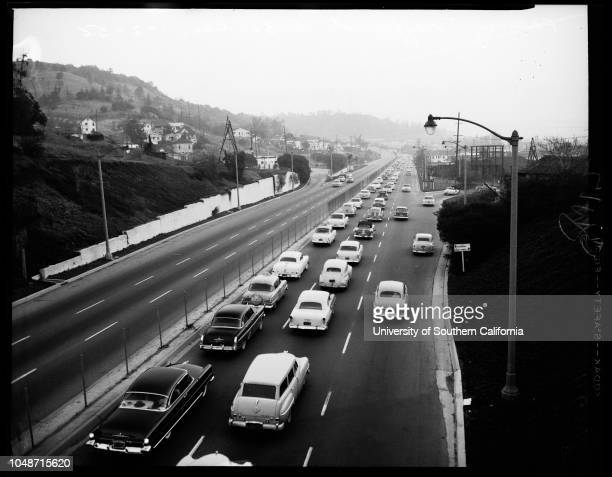 Early morning traffic to Rose Bowl 2 January 1956 Harriette NelsonRita ManningDarlene McGinleyBarbara OrtolaniRoger TolmanRonnie TuckerEddie...