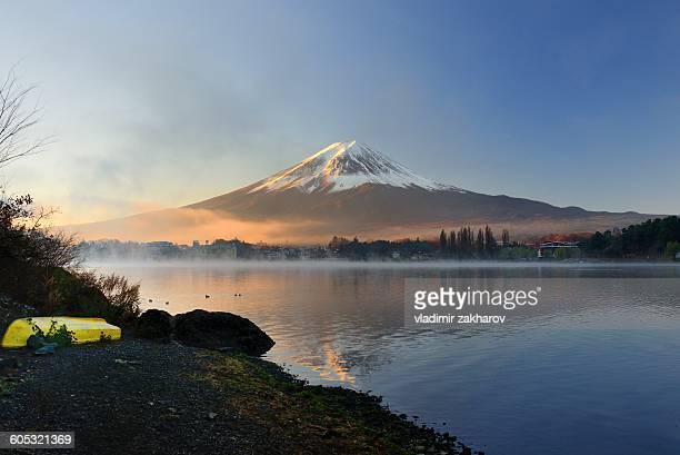 Early morning view of Mount Fuji over Lake Kawaguc