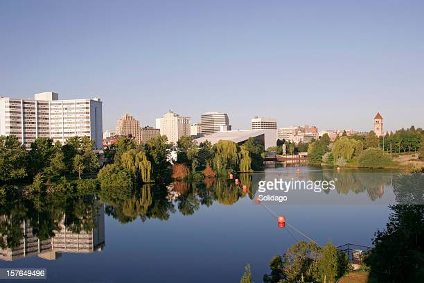 early morning view of spokane washington skyline - washington state stock pictures, royalty-free photos & images