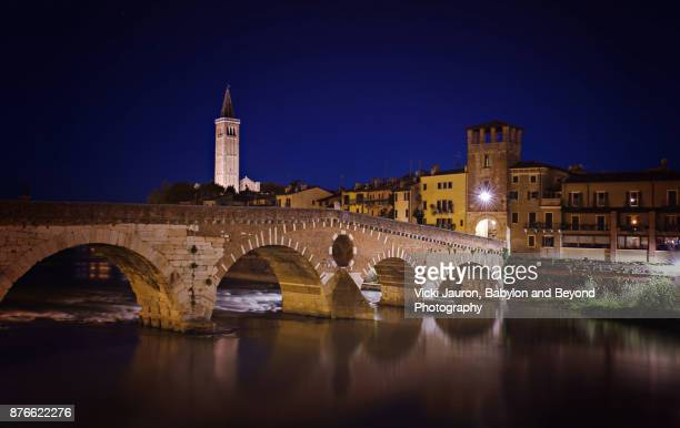 Early Morning View of the Ponte Pietra in Verona, Italy