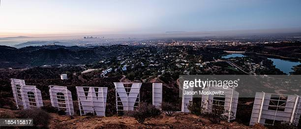 Early morning vista of Los Angeles from behind the world famous Hollywood sign