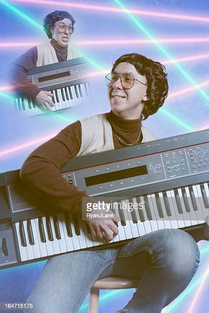 early nineties glamour shot - keyboard player stock photos and pictures