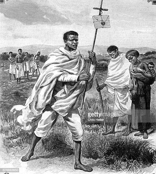 Early Postman or Messenger Carrying Letter in Abyssinia or Ethiopia 1903
