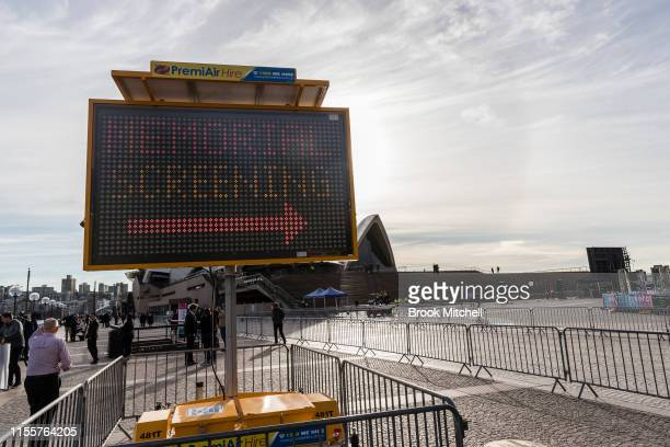 Early preparations for the public memorial for Bob Hawke at The Sydney Opera House on June 14 2019 in Sydney Australia Robert James Lee Hawke AC also...