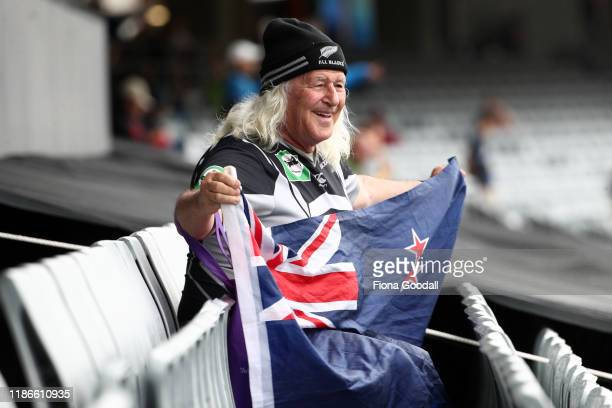 Early rain doesn't dampen the fans enthusiasm before game five of the Twenty20 International series between New Zealand and England at Eden Park on...