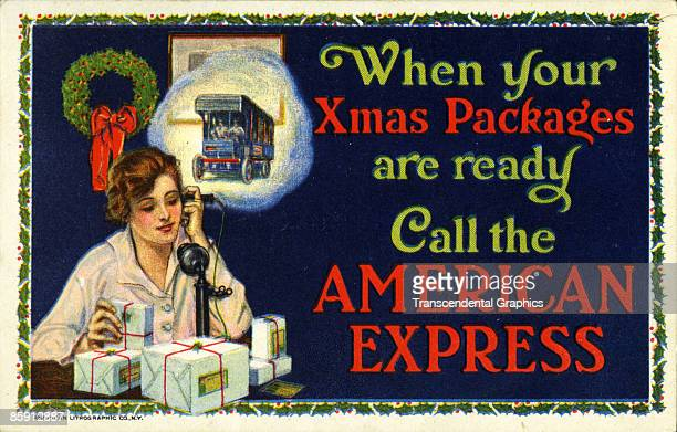 Early seasonal color lithographic advertisement for the shipping services of American Express showing a woman calling the company to send her...