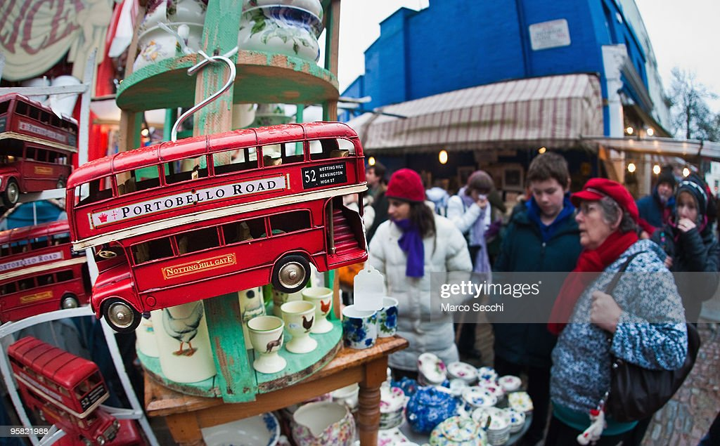 Early shoppers browse at Alice in Portobello market on January 16, 2010 in London, England. Portobello traders fear for the Market's future after Lipka's Antiques Arcade, where more than 150 traders had their stalls, was redeveloped to accommodate a large High street chain store.