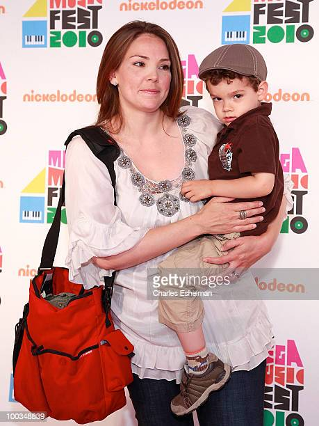 """Early Show"""" anchor Erica Hill and son Weston Yount attend the Nickelodeon Mega Music Fest at the Brooklyn Academy of Music on May 22, 2010 in the..."""