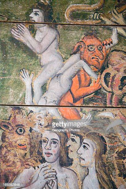 Early sixteenth century religious painting depicting the Day of Judgment called the Wenhaston Doom Suffolk England