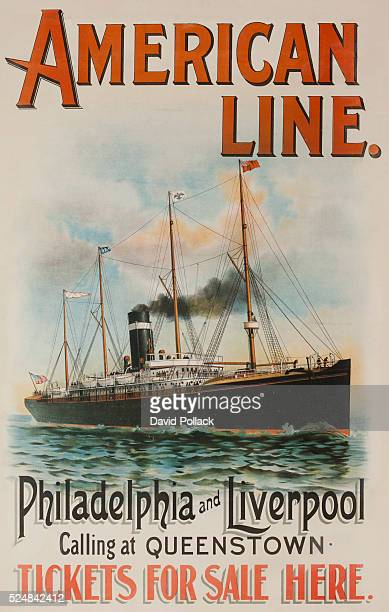 Early steamship sailing in calm waters promotes travel between Europe and North America