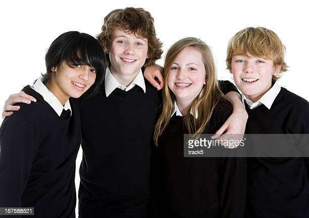early teen students: friendly faces