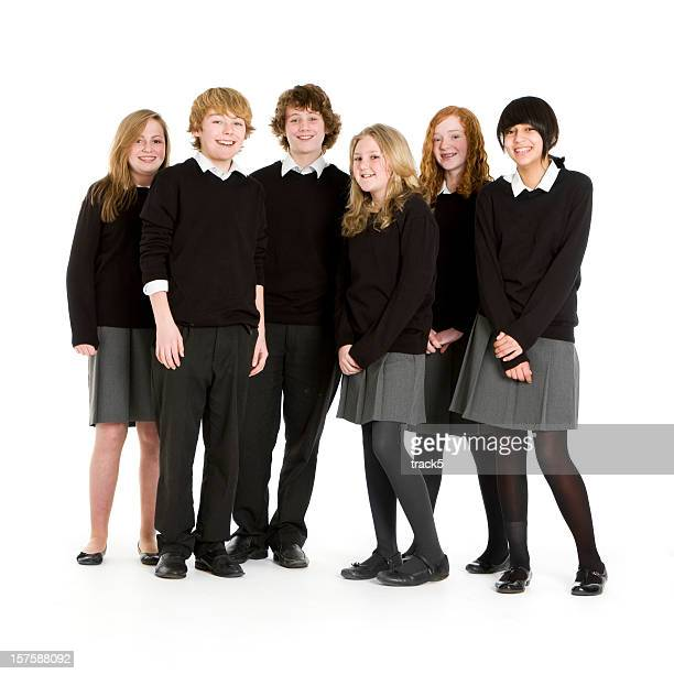 Early teen students taking a group picture
