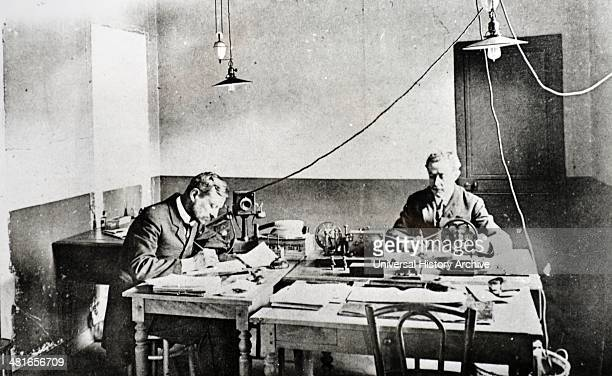 Early telegraph apparatus and operators in Paris circa 1915