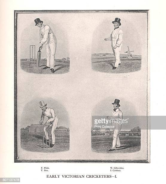 Early Victorian cricketers 19th century From Imperial Cricket edited by P F Warner and published by The London and Counties Press Association Ltd...