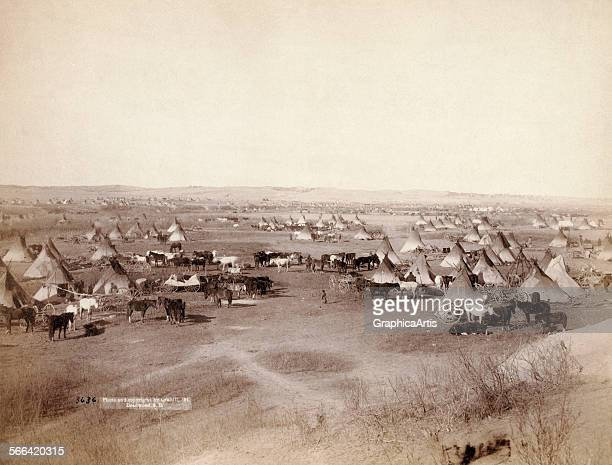 Early view of an extensive Lakota Indian camp by John CH Grabill albumen print 1891