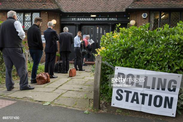 Early voters for the UK 2017 general elections queue outside the polling station at St Barnabas Parish Hall in Dulwich Village on 8th June 2017 in...