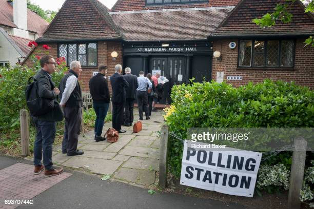 Early voters for the UK 2017 general elections queue outside the polling station at St. Barnabas Parish Hall in Dulwich Village on 8th June 2017, in...