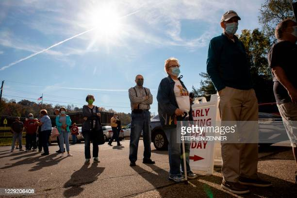 Early voters line up outside of the Vienna Community Building to cast their ballots for the November 3 election, in Vienna, West Virginia, on October...