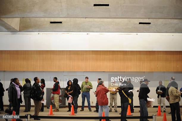 Early voters queue in line at the DeKalb County early voting station in Atlanta Georgia