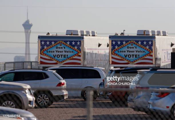 Early voting trailers are stored in the back parking lot at Clark County Election Department on November 4 in North Las Vegas. - Democrats and...