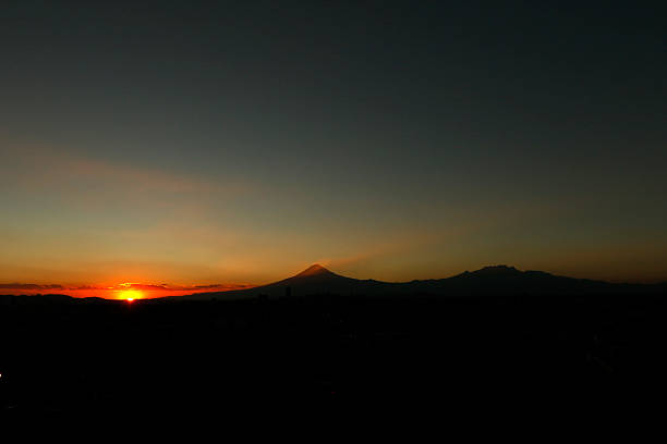 Early winter sunset on the skyline of Puebla city - Mexico