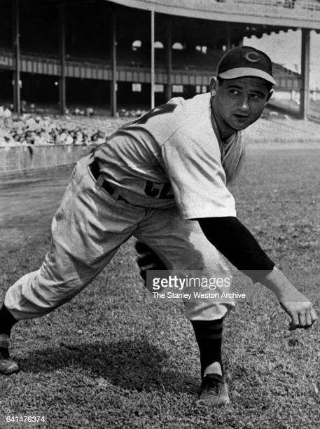 Early Wynn pitcher for the Cleveland Indians warms up before a game in Municipal Stadium in Cleveland Ohio 1949