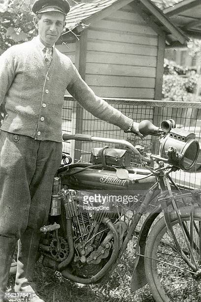 Roy Knight gets set for a motorcycle race on an Indian in the early1920s