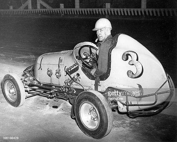 Bill Holmes gets set for a Midget car race in the early1950s