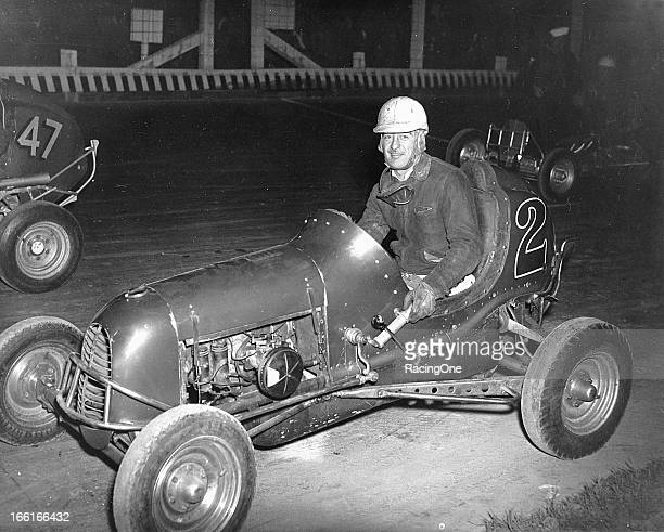 Charlie Miller of Allentown PA gets ready for a Midget car race