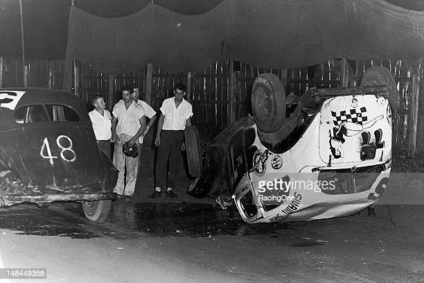 It was not a real good night for Modified stock car racing competitor Ted Swaim as his car ended up on its roof during this particular race