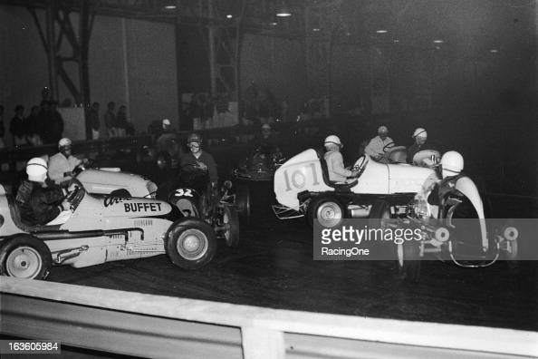 This indoor Midget car race at the Oakland Exposition ...