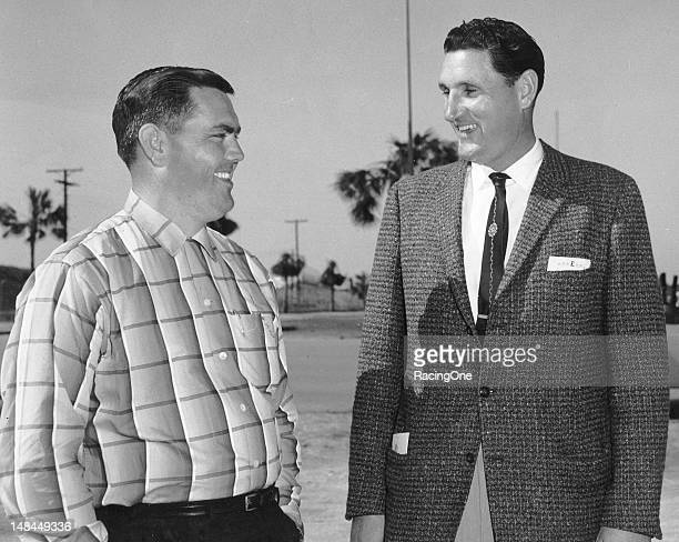 NASCAR driver Junior Johnson and Enoch Staley founder of North Wilkesboro Speedway enjoy a bit of warm Florida weather in Daytona Beach during Speed...