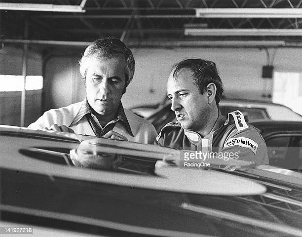 Roger Penske talks with his driver Dave Marcis at a NASCAR Cup race Marcis drove 16 Cup events in Penske's AMC Matador between 1972 and 1974