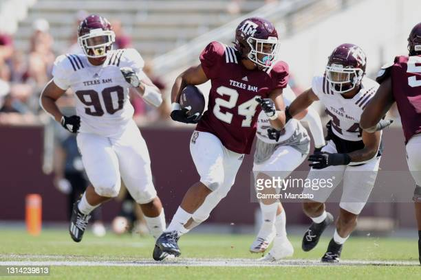 Earnest Crownover of the Texas A&M Aggies rushes during the second half of the spring game at Kyle Field on April 24, 2021 in College Station, Texas.