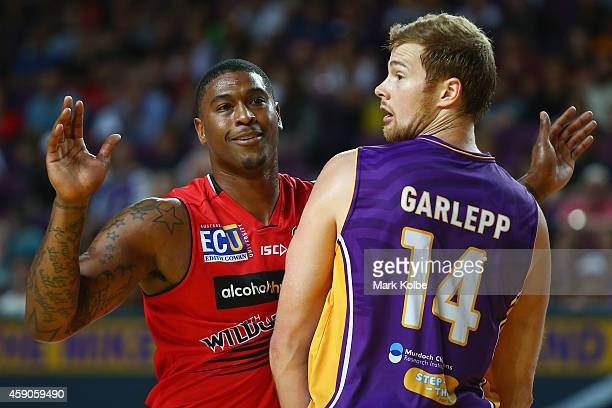 Earnest Ross of the Wildcats and Tom Garlepp of the Kings bump against each other during the round six NBL match between the Sydney Kings and the...