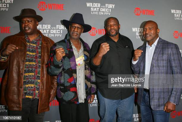 Earnie Shavers Buster Douglas Michael Spinks Riddick Bowe and Evander Holyfield attend the Heavyweight Championship of The World 'Wilder vs Fury'...