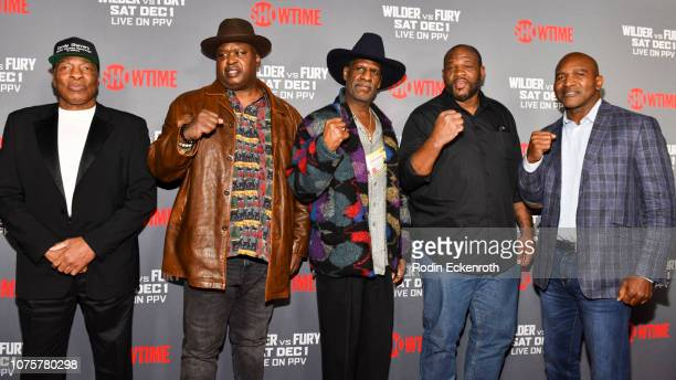 Earnie Shavers Buster Douglas Michael Spinks Riddick Bowe and Evander Holyfield attend the Heavyweight Championship of The World Wilder vs Fury...