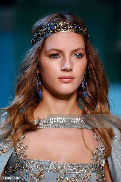 Earring detail during the Elie Saab Haute Couture Fall/Winter 2017-2018 show as part of Haute Couture Paris Fashion Week on July 5, 2017 in Paris,...