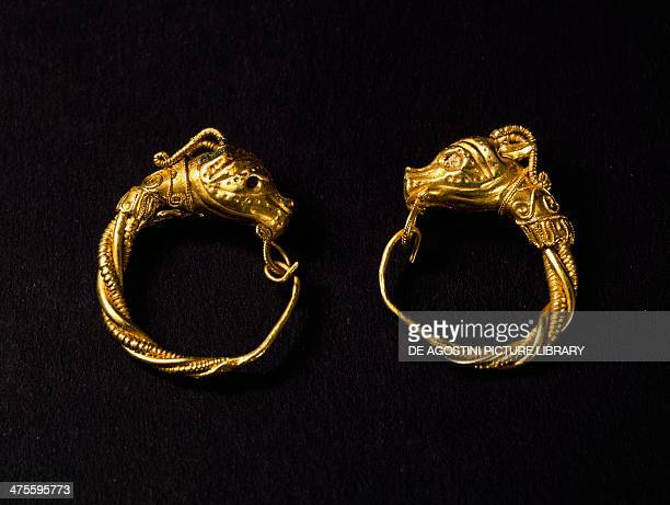 Earrings gold from a Hellenistic tomb Calabria Italy Goldsmith art Greek civilisation Reggio Di Calabria Museo Nazionale Della Magna Grecia