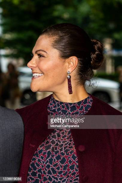 Earrings worn by Crown Princess Victoria of Sweden while visiting the Maxim Theater on October 1, 2020 in Stockholm, Sweden. The Maxim Theater is one...