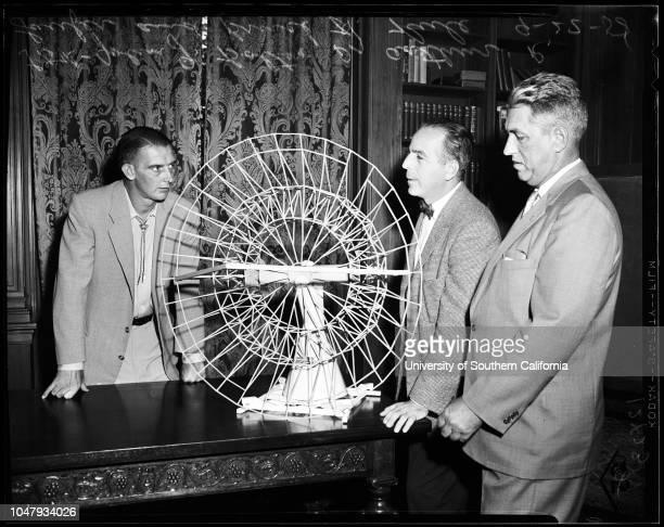 Ears of Radio Telescope 24 September 1958 John G Bolton 36 years Doctor Arthur R LauferBruce H Rule neg showing model of twin giant 'ears' of Radio...