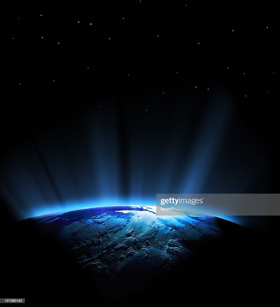 earth and blue rays : Stock Photo