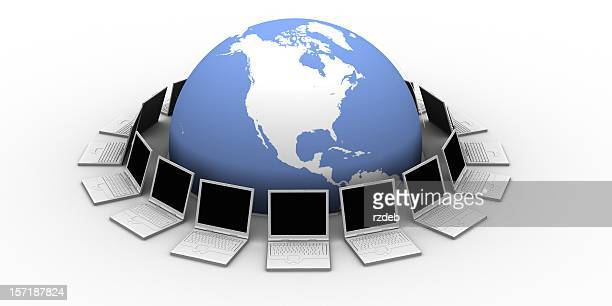 La terre et les ordinateurs portables